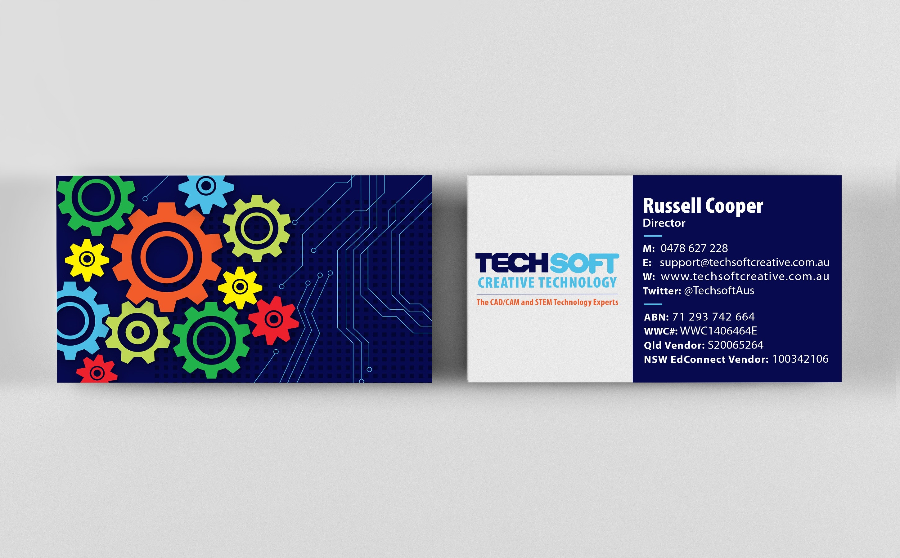 Colorful gears on business card