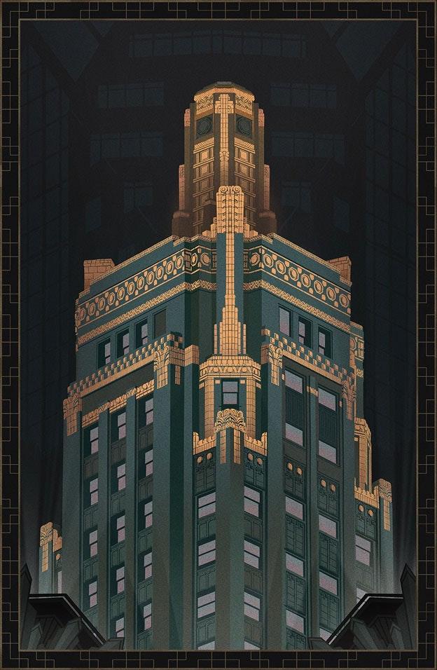 art deco hotel poster