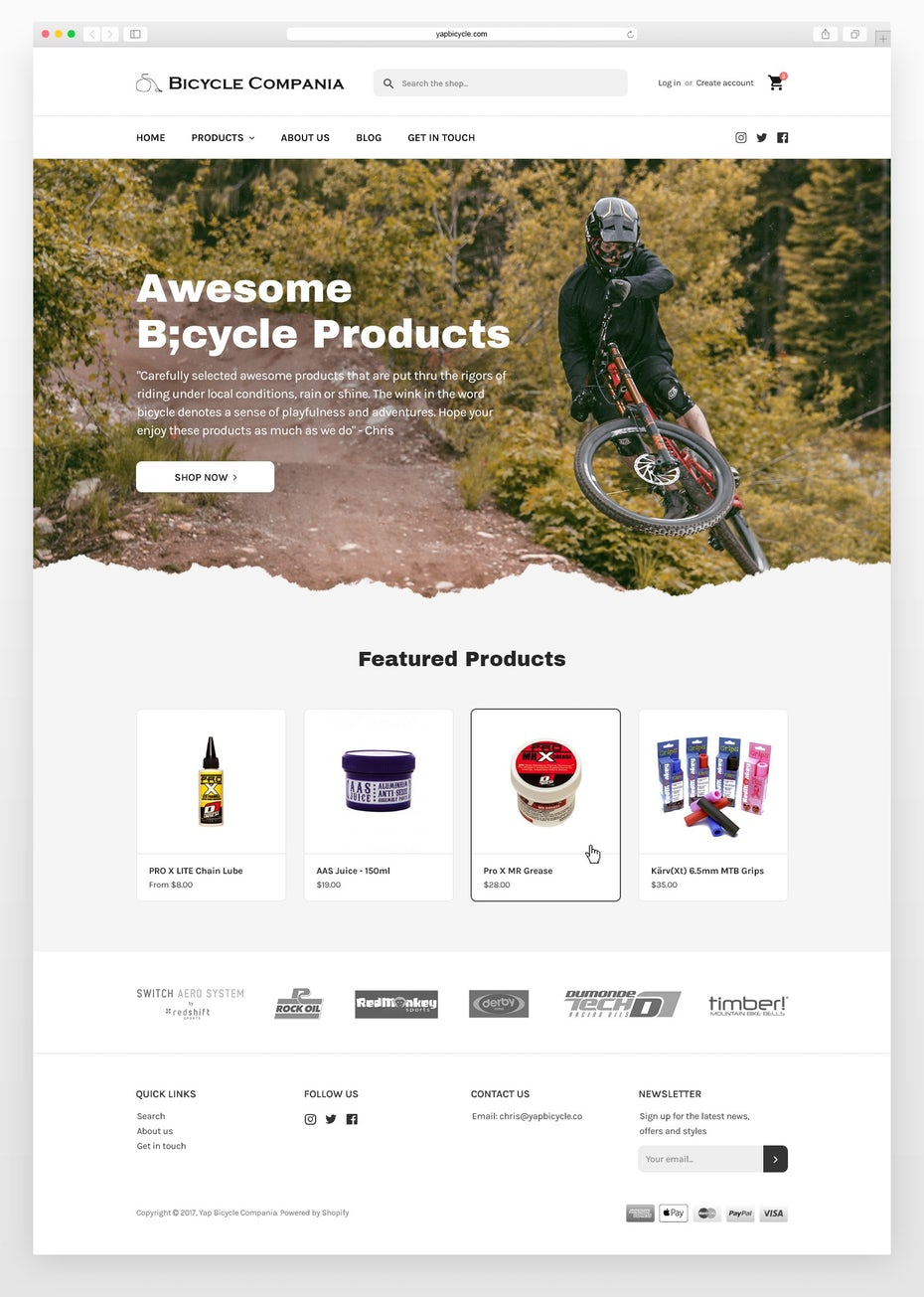 bicycle products ecommerce shopify website