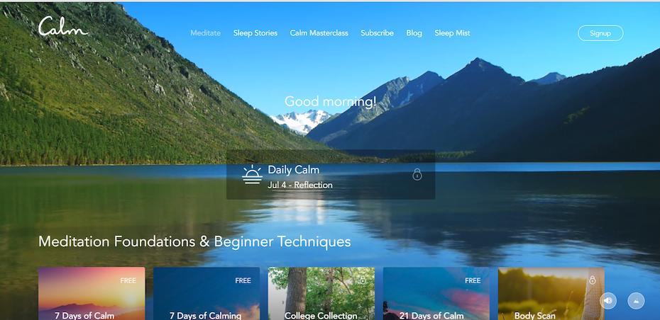 calm website