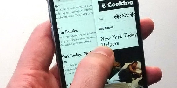New York Times app swiping