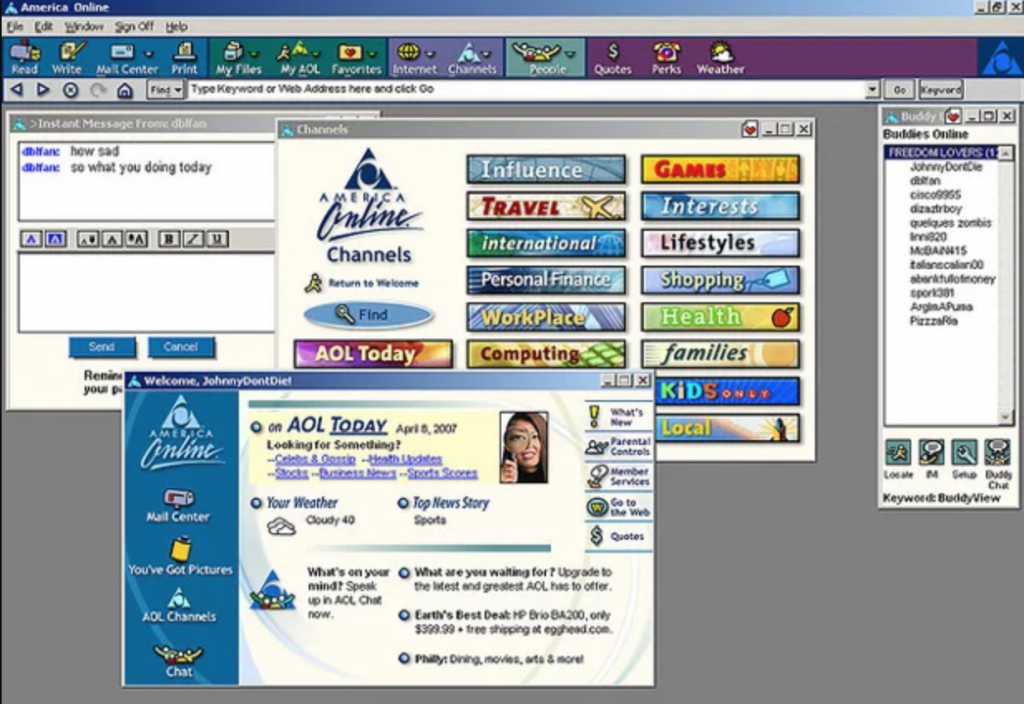 Original AOL homepage