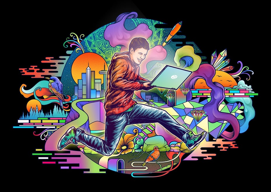 Illustration of man jumping with a laptop