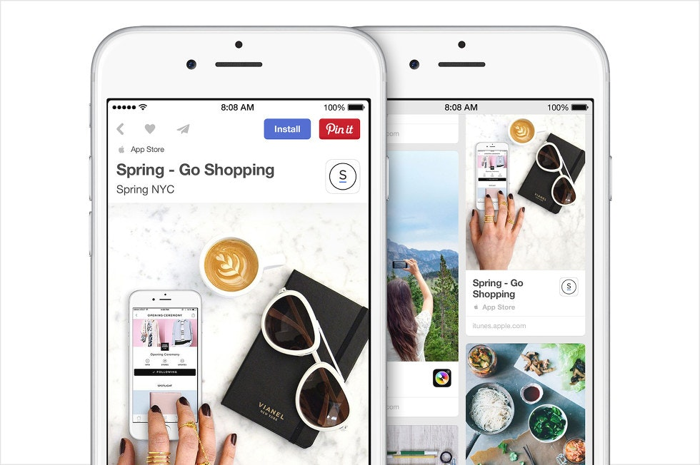App Pin allowing a user to install an app directly via Pinterest