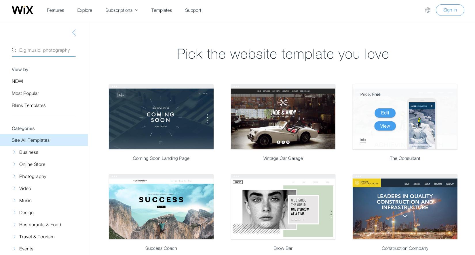 wix templates