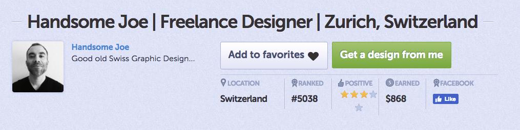 DesignCrowd designer bio for Handsome Joe