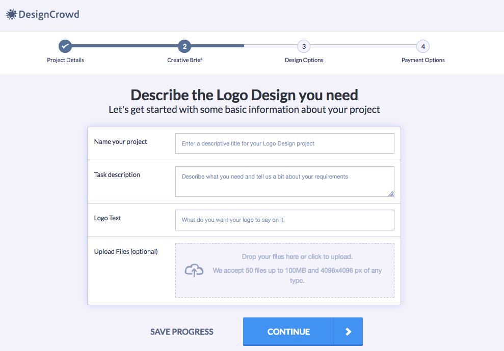 DesignCrowd briefing for logo design