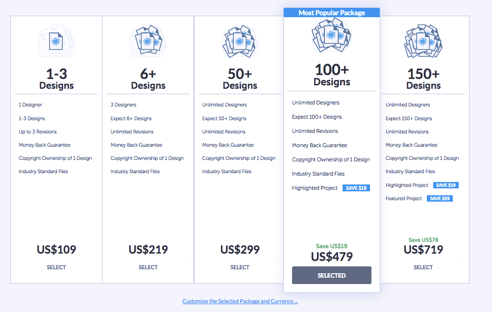 DesignCrowd pricing chart for design contests