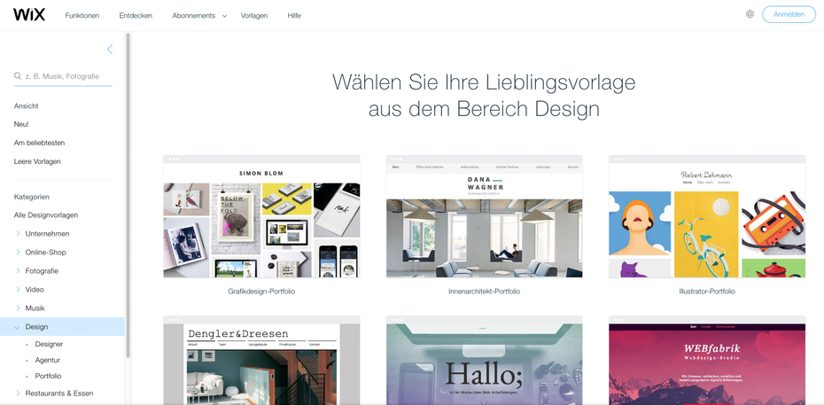 website vorlagen auf wix