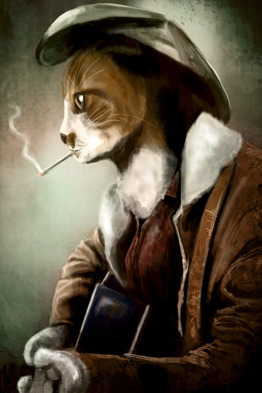 cat smoking and playing guitar