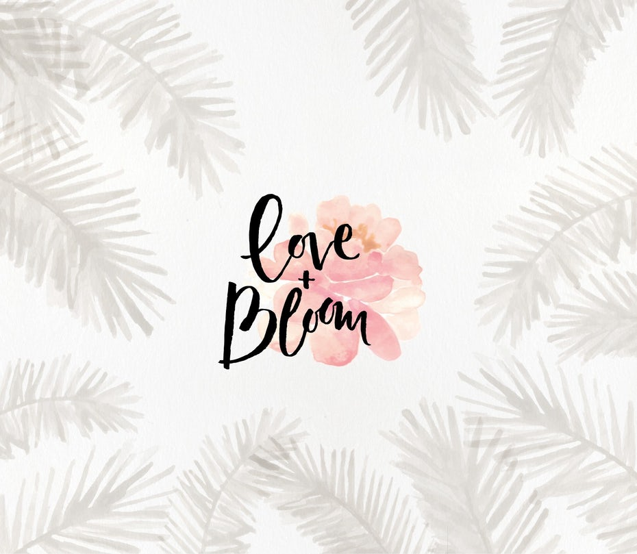 """love and bloom"" words against a pink flower, surrounded by gray fan leaves on a white background"