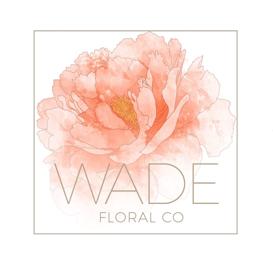 "Words ""Wade floral co"" with a large, coral-colored flower"