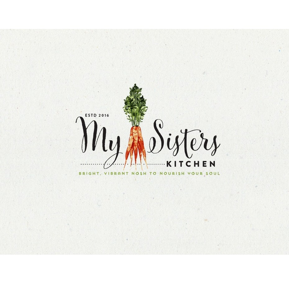 "a stalk of vibrant carrots with the words ""My Sisters Kitchen"""