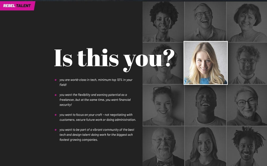 web design with grid of diverse faces