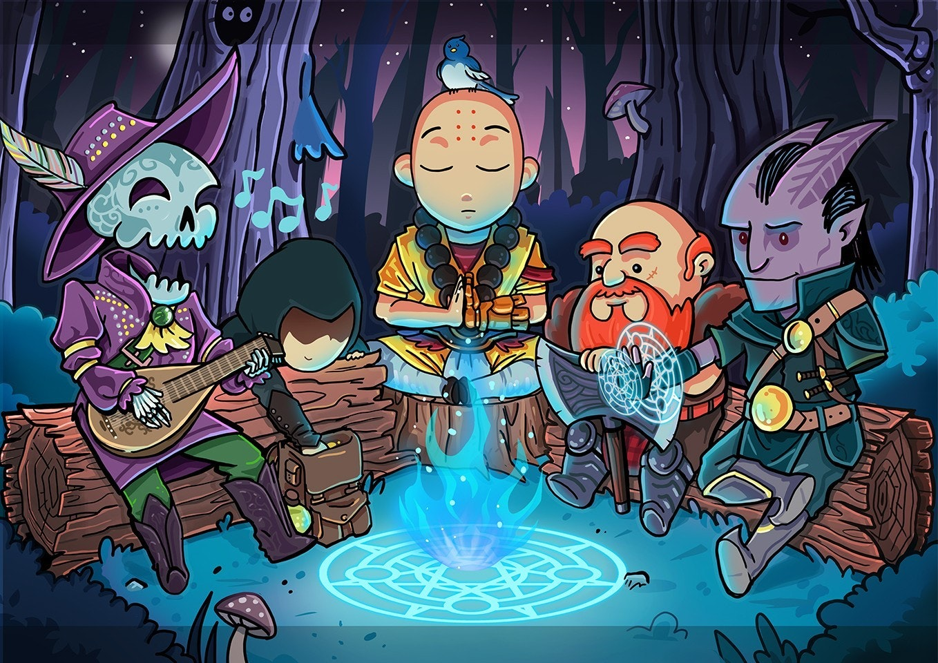 fictional characters around a campfire