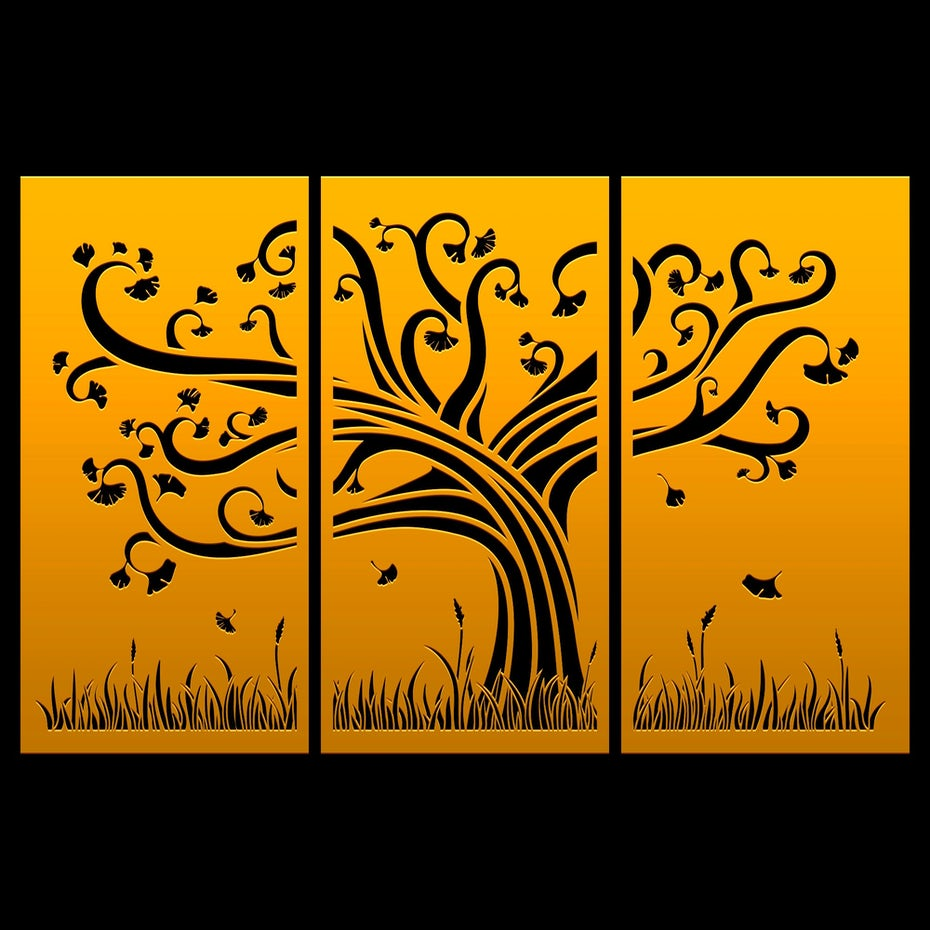 ginkgo tree on panels
