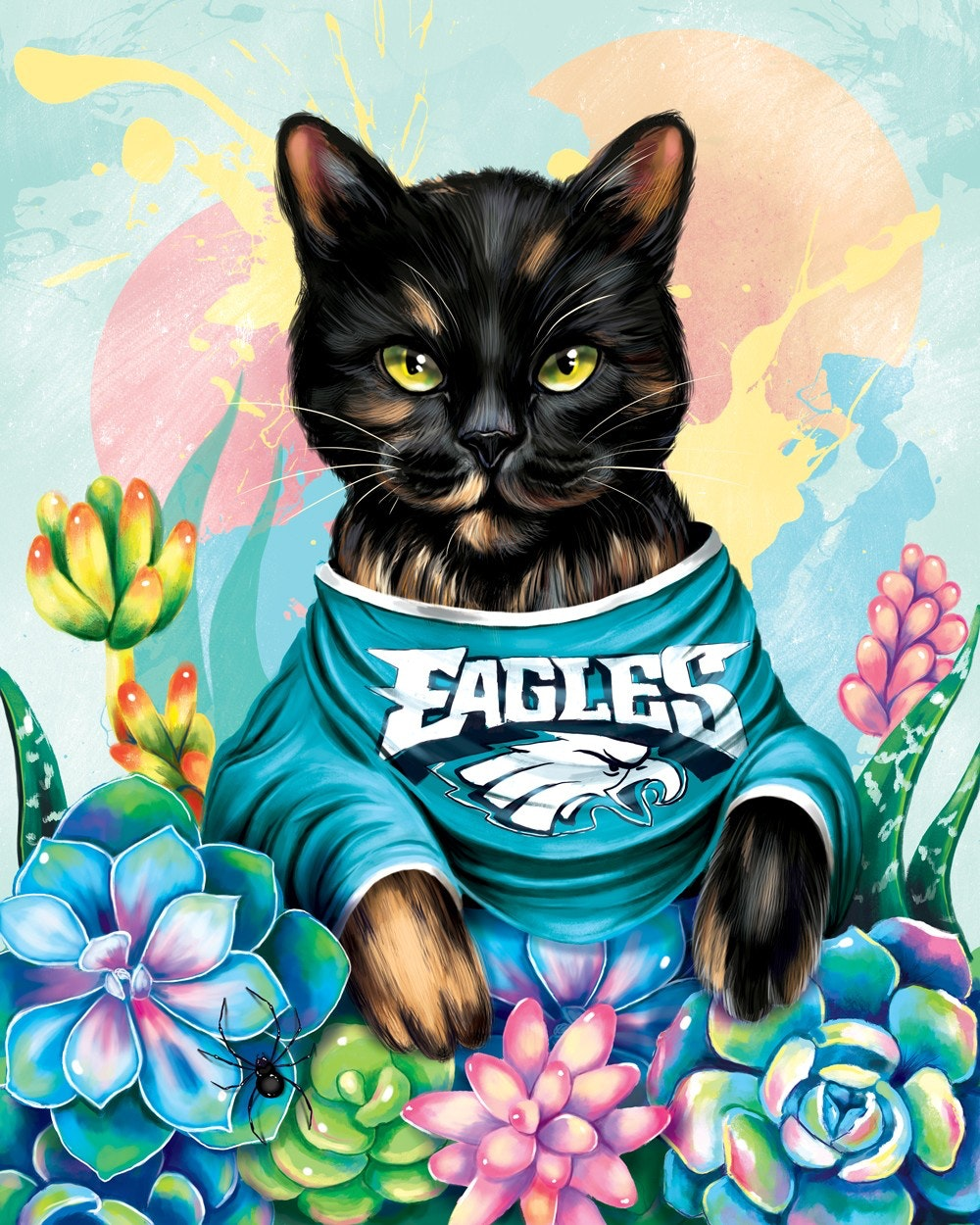 cat in eagles jersey