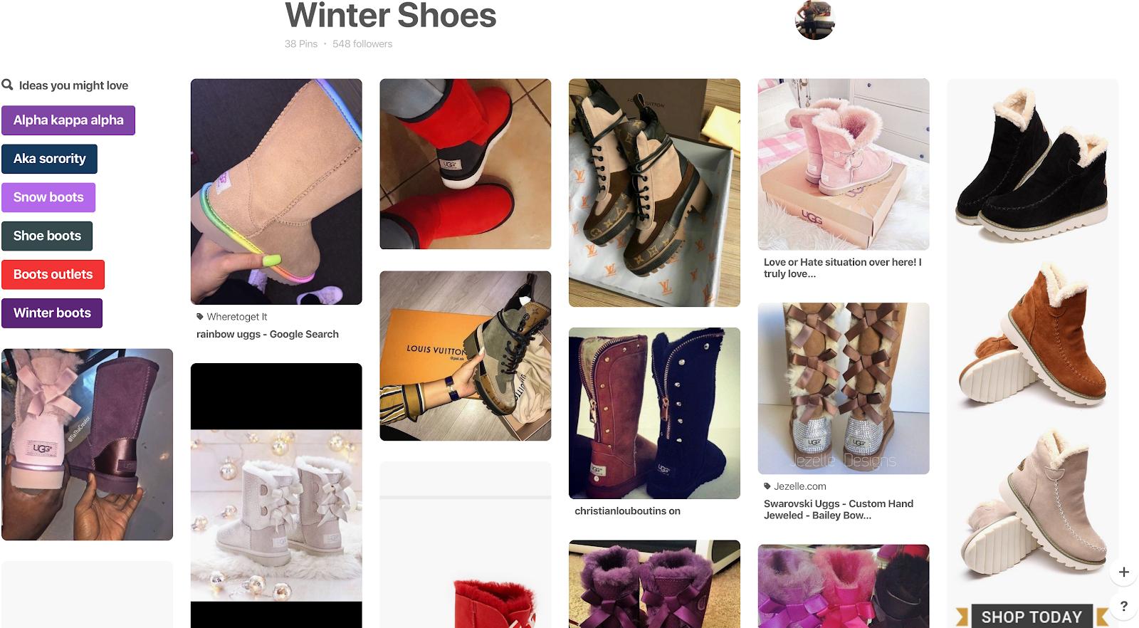 A board showcasing Winter shoes
