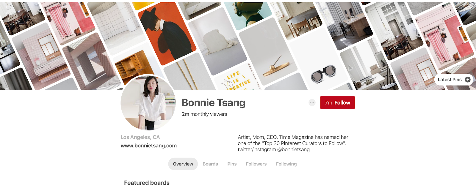 Bonnie Tsang's Pinterest profile
