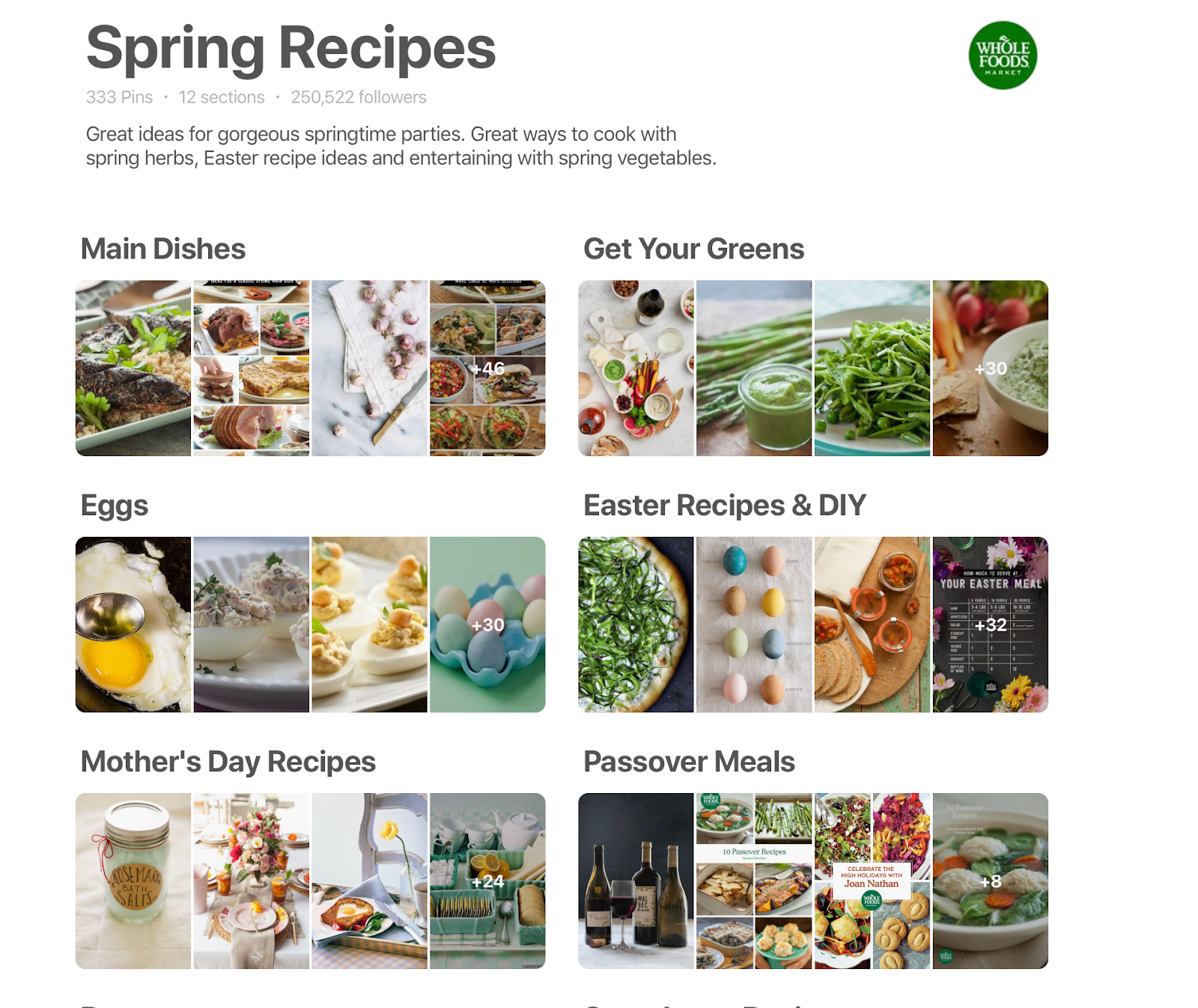 Whole Foods spring recipes board