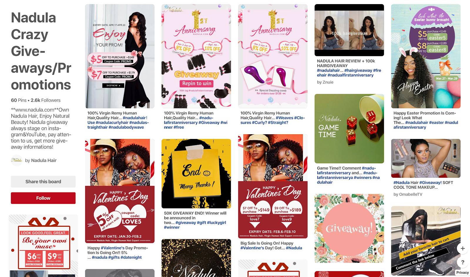 Nadula's Pinterest page