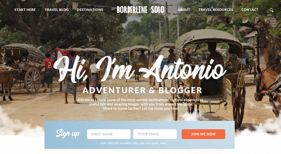 Travel blogger homepage