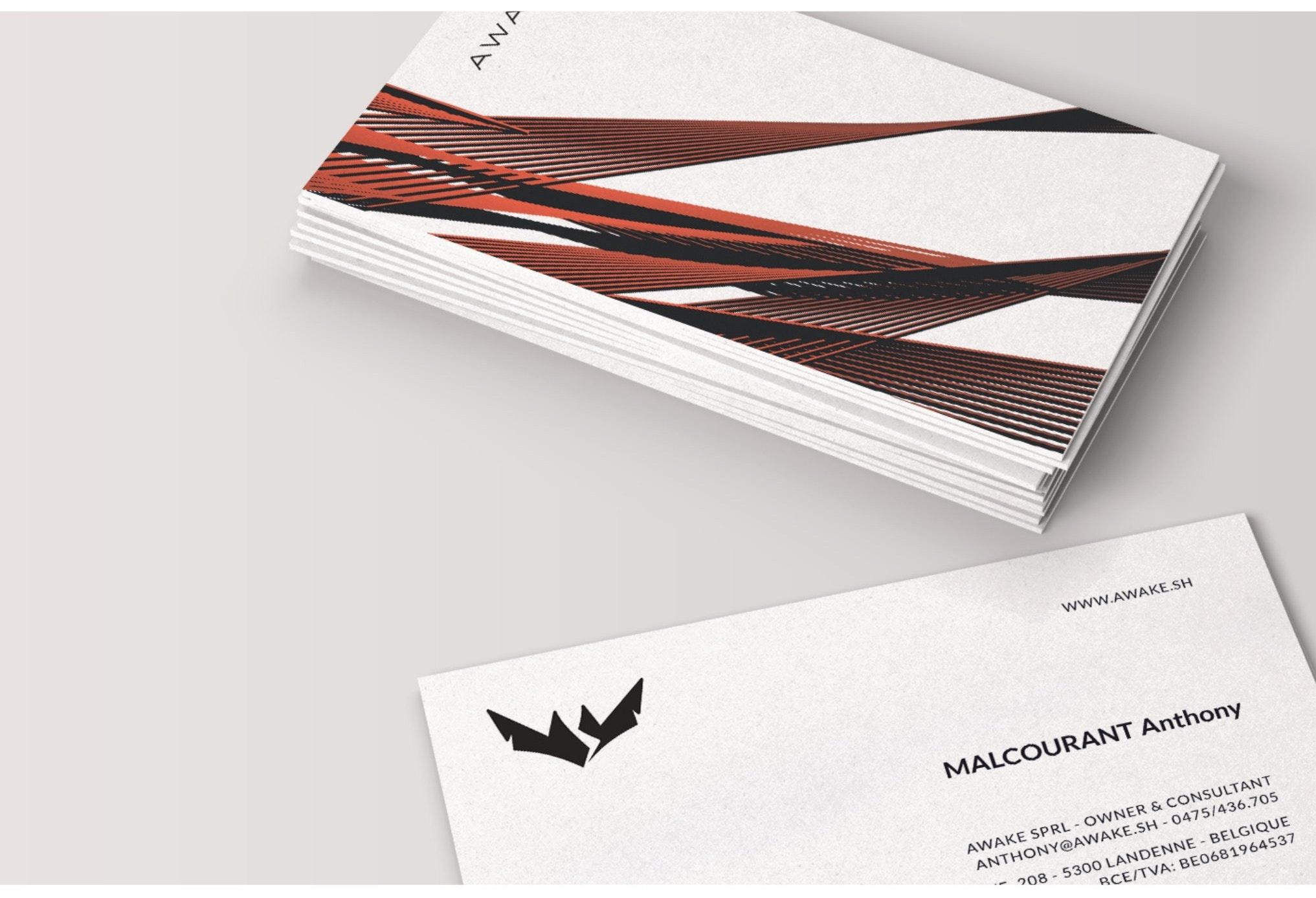 business card printed on uncoated paper