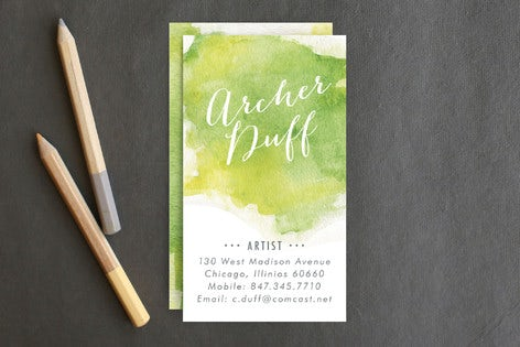 Minted Watercolor business card
