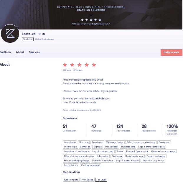 99designs designer bio for kosta-xd