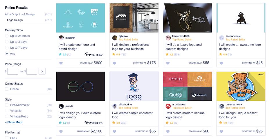Screenshot of Fiverr for logo design