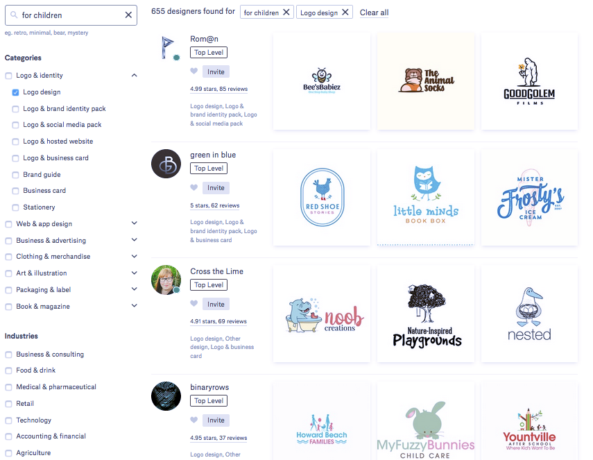 99designs Find a Designer search tool screenshot