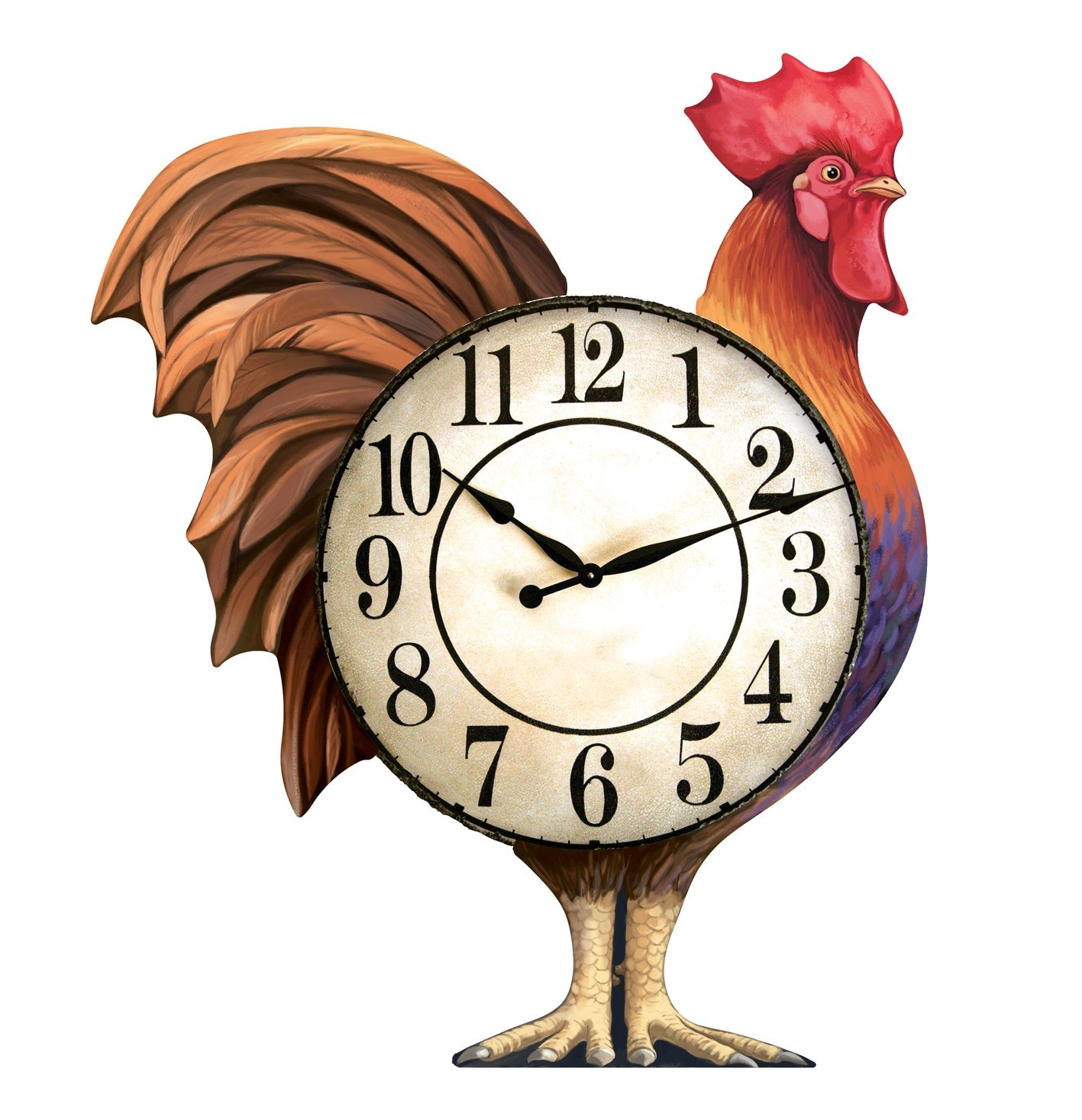 Rooster clock illustration