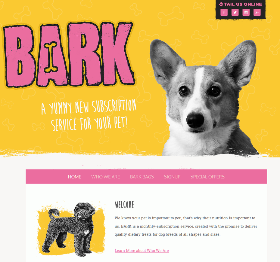 Dog-themed home page