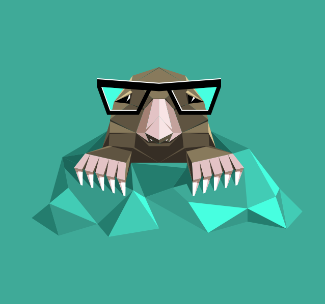 Origami mole with glasses