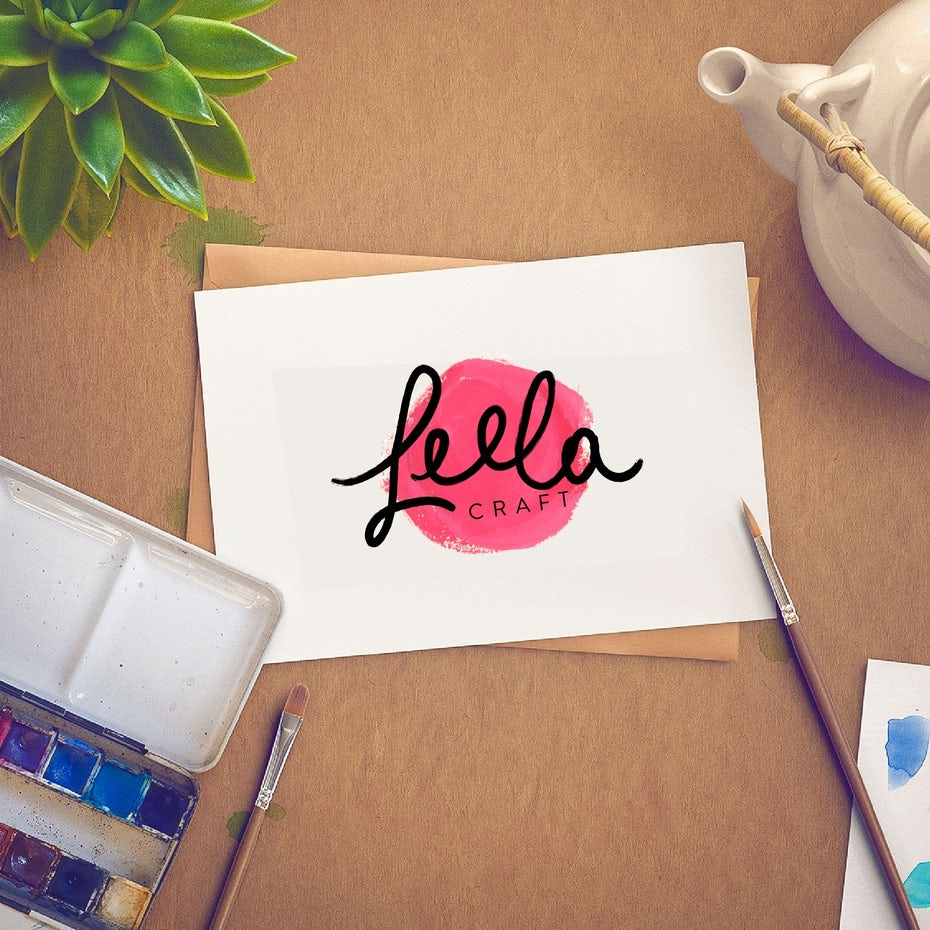 Watercolor craft logo