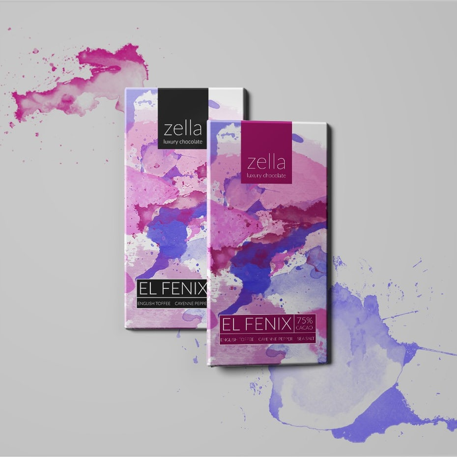Watercolor chocolate packaging