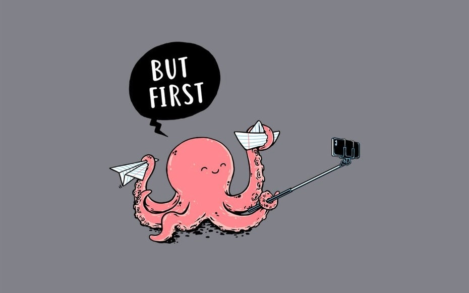 An illustration of an octopus taking a selfie