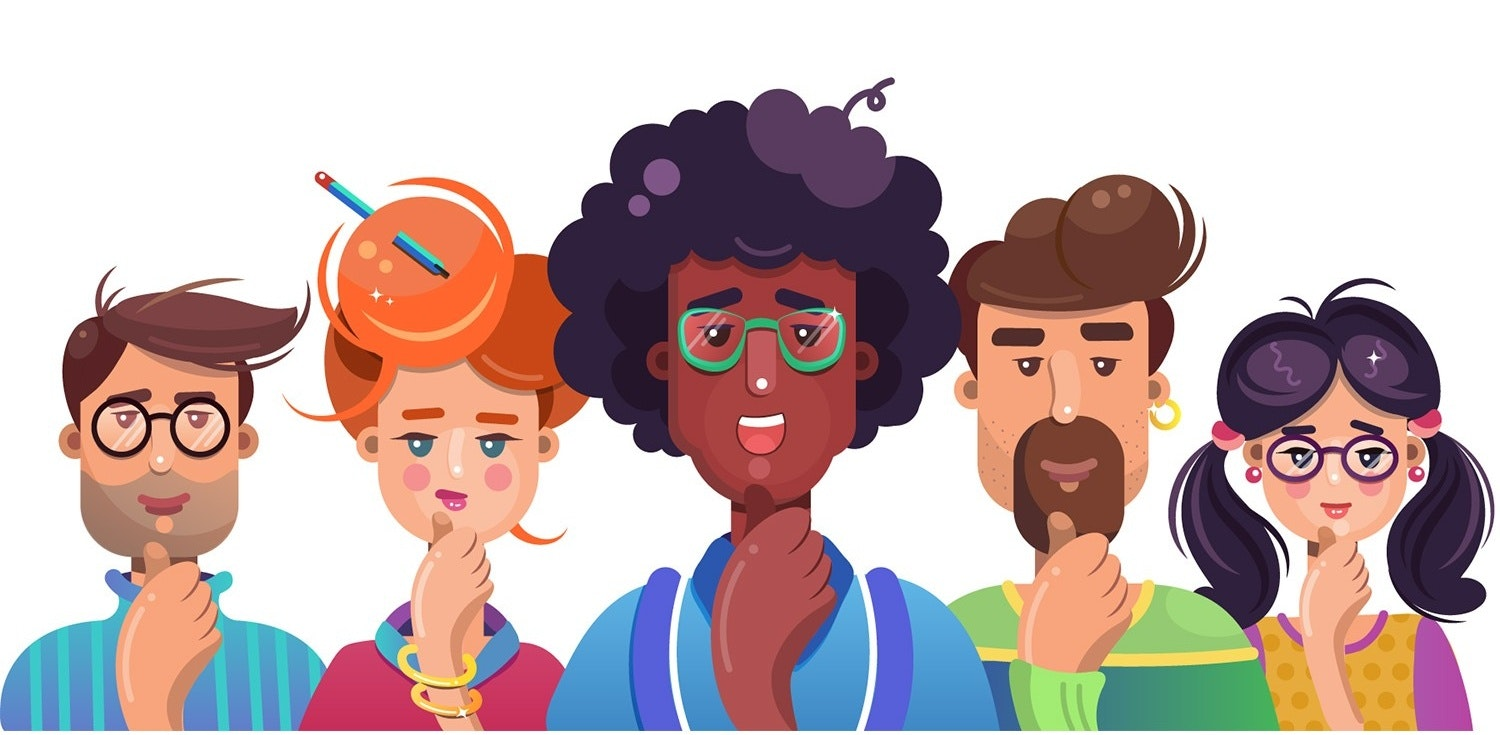 Geek characters flat illustration