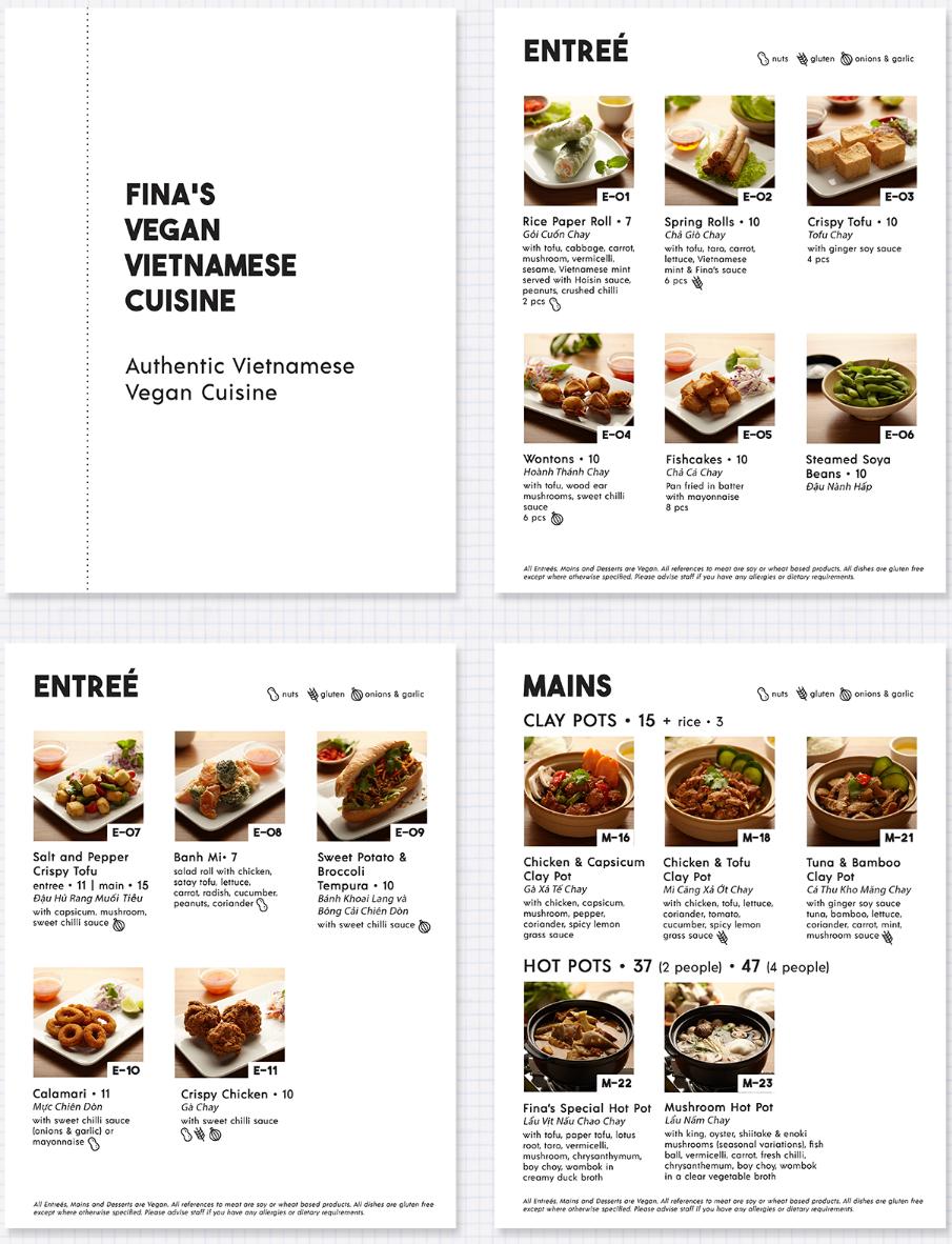 Finas Vegan Vietnamese Cuisine menu design