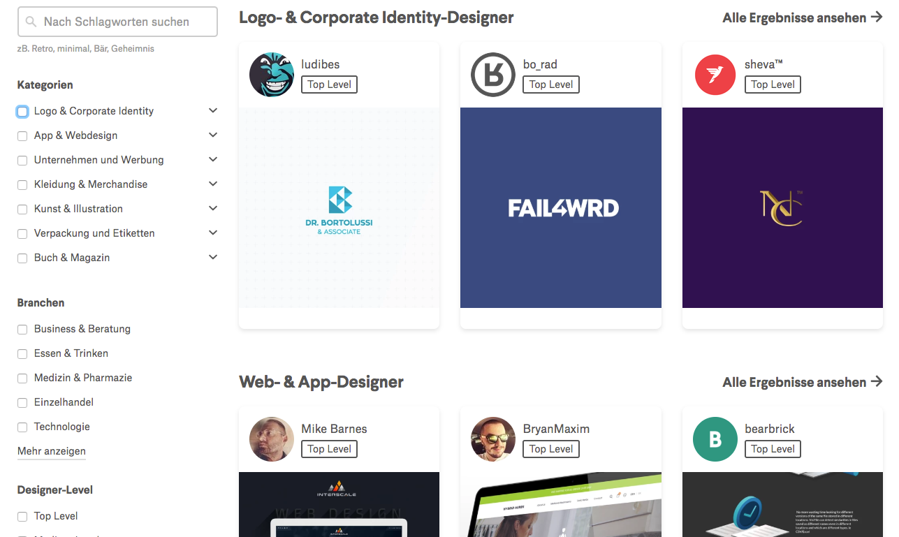 99designs Designer-Suche