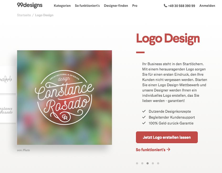 logo design produktseite 99designs