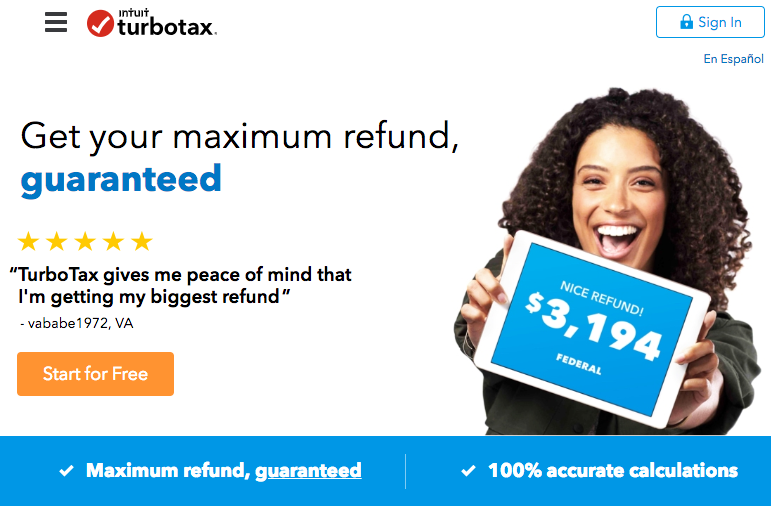 An image of Turbo Tax's home page