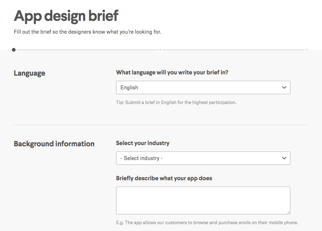 99designs app design brief