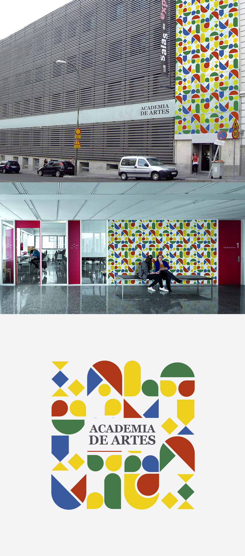 Multicolored logo for Academia de Artes