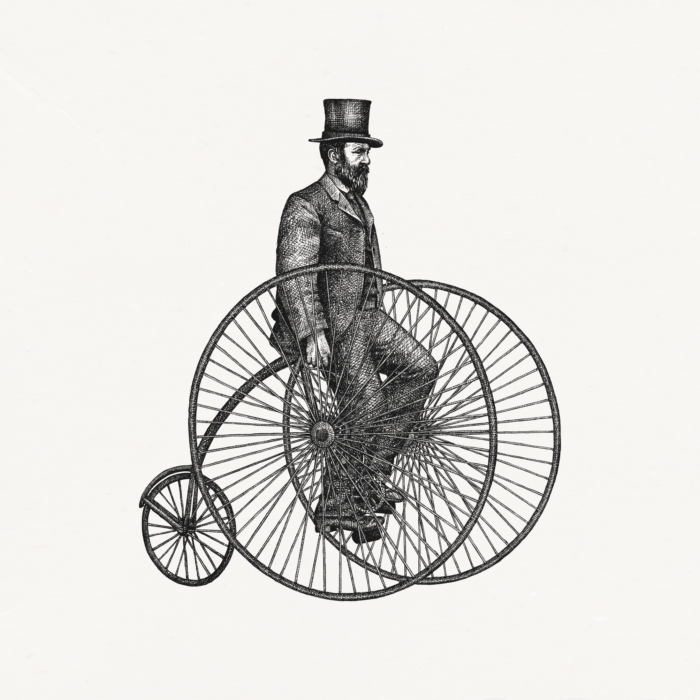 illustration 19th century gentleman on a bicycle
