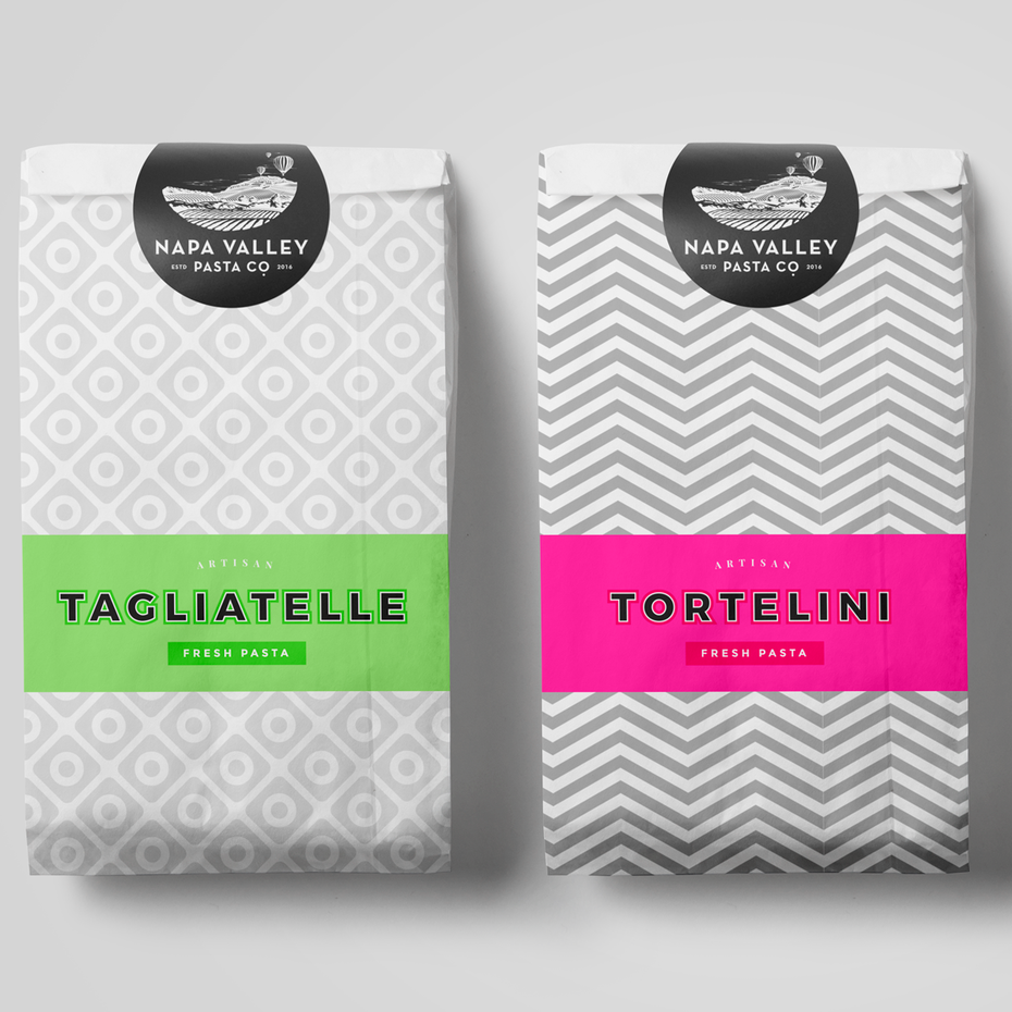 Colorful pasta packaging