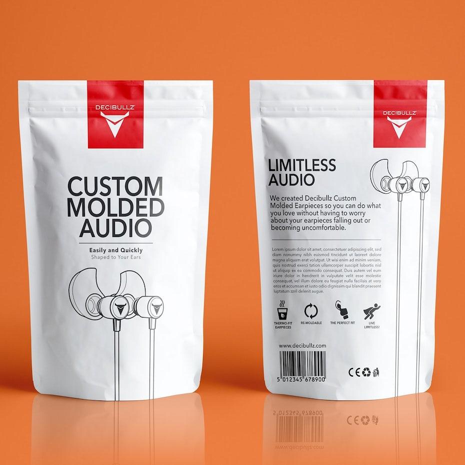 Custom molded audio headphones packaging