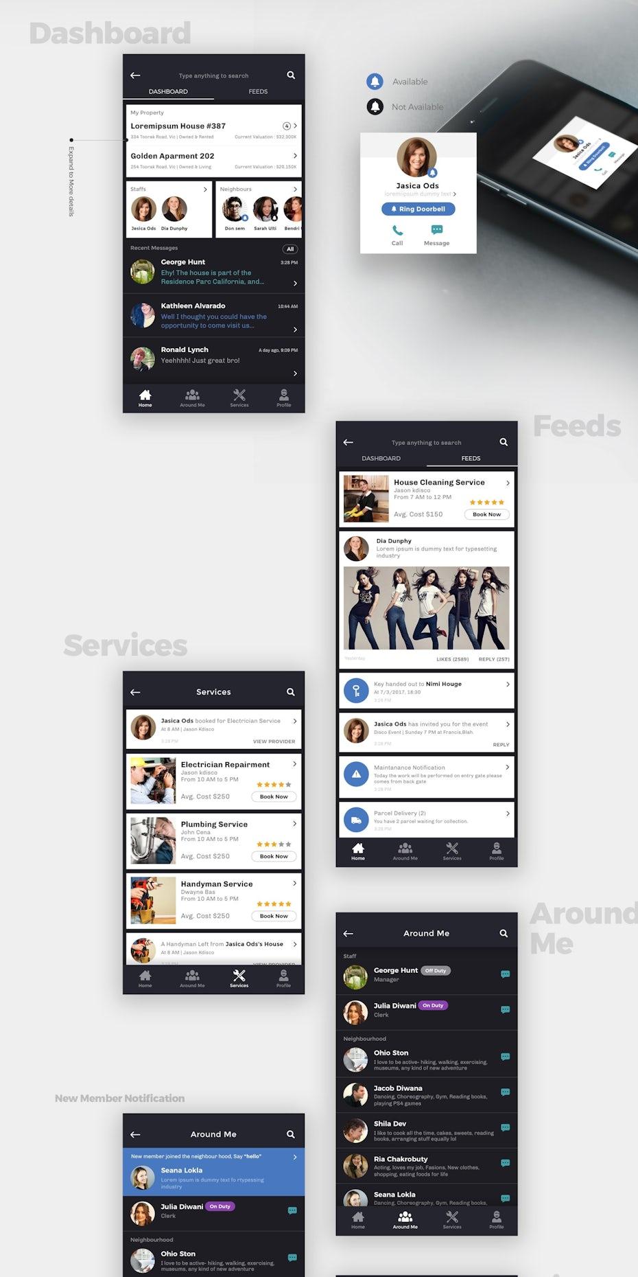 Social media app design