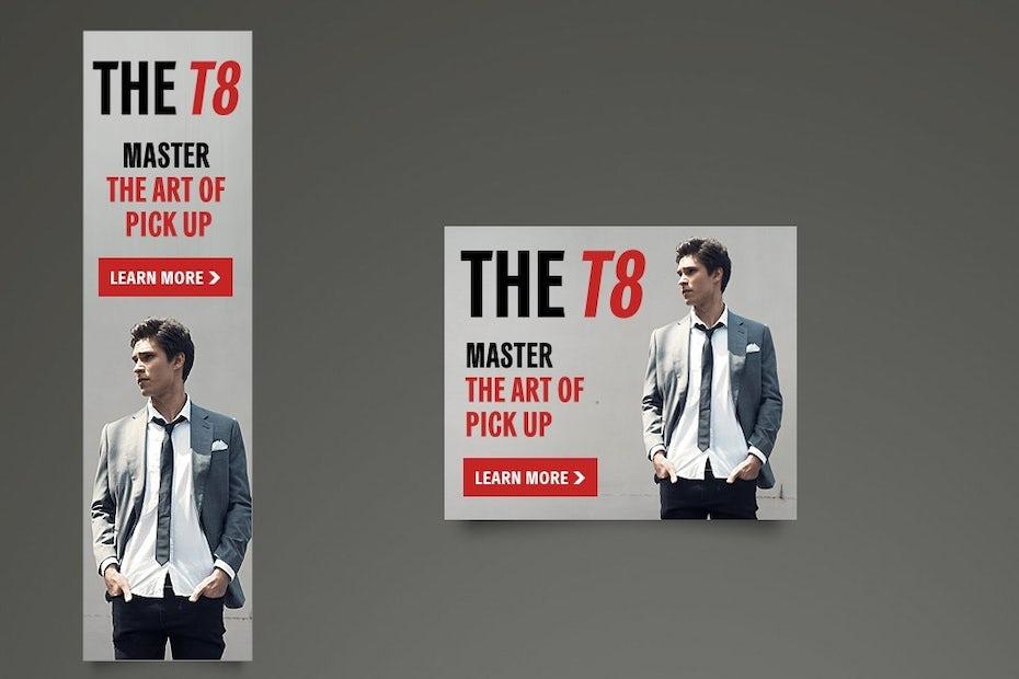 The T8 banner ad design