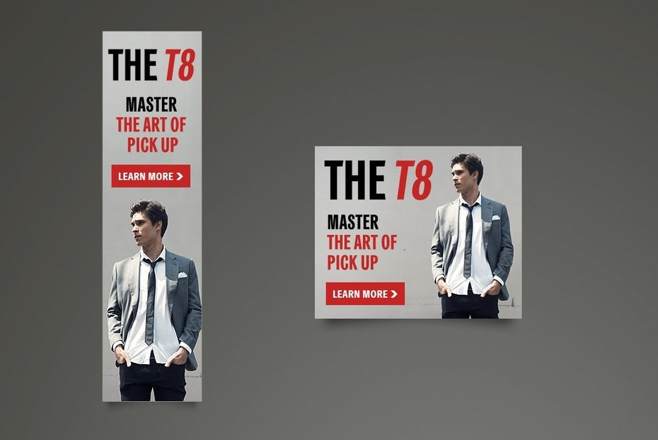 The T8 banner ad design